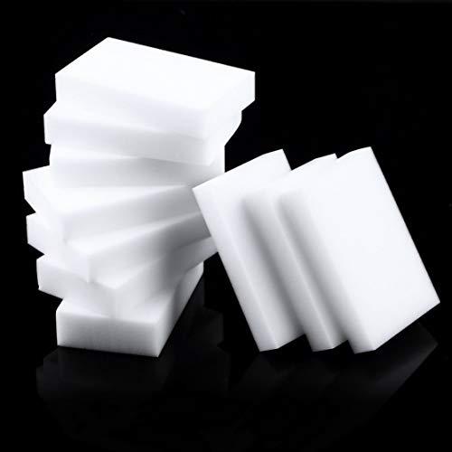 10 Stücke Magie Schwamm Radiergummi Sauber Reinigung multifunktionale Schaumreiniger Weiß Küche Bad Haus Universal Reinigungswerkzeuge(Color:White) (Interior Cleaner Leder)