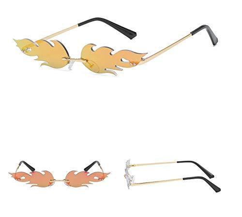 WSKPE Sonnenbrille,Kleine Flamme Rahmenlose Sonnenbrille Männer Frauen Mode Sonnenbrille Farben Uv400 Gold Frame,Rote Linse