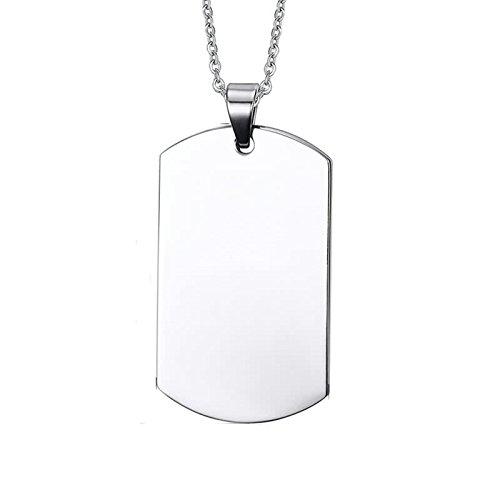 AnazoZ Acero Inoxidable Collar para Hombre Collar de Mujer Pendiente Plata Placa de Identidad Alto Pulido 3.95x2.3CM