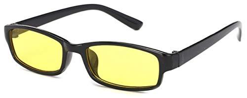 4sold Schlankes Anti-Glare-Brille Night Vision Blendschutz Brille Driving Yellow Lens Brille Schildkröte Shell Brown Frame Unisex Fall Tuch (Black)
