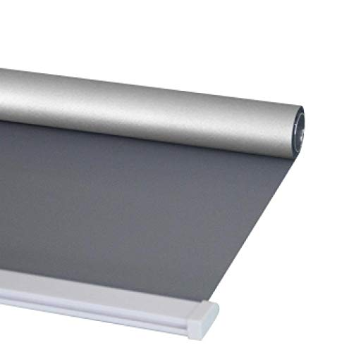 dusg Estores Collection Estor Enrollable Liso Persianas Perforar Tirar Cuentas sombreado Completo Plata Gris Oscuro 80 × 180CM