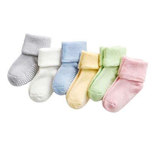 biteri Kindersocken Stricksocken Baumwollsocken Hoher Knöchel Socken für Säugling Baby Kinder Kleinkind Jungen & Mädchen 0-3 Jahre rutschfest Atmungsaktiv 6 Paare -