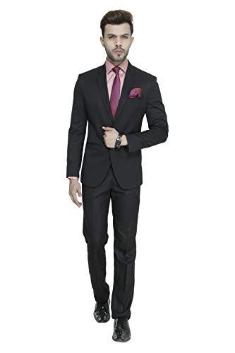 MANQ Men's Slim Fit Party/Formal Suit (Pack of 2) Black