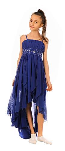 Festliches Mädchen Kleid mit Stola Strass Perlen Strass Prinzessinnenkleid M533bl Blau 158