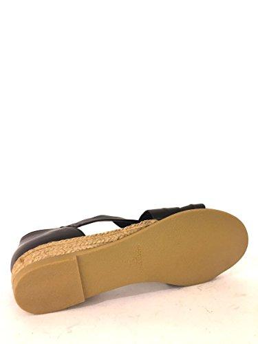 Sandali zeppa SH952 in pelle con tacco medio corda fascie MainApps Nero