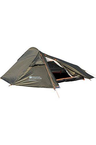 Mountain Warehouse 2-Personen-Zelt für Rucksackreisende - wasserabweisend, Überdach, Schlafzeltboden, Aluminiumstangen, 1-Raum-Sonnenschutz - Für Camping, Outdoor Grün