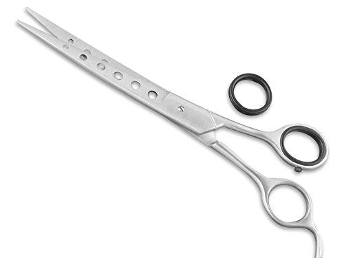 InstrumenteNrw Premium Fellschere Gebogen Haarschere für Fell und Tierhaare Hundehaar-Schere 19,5 cm mit abgestumpften Spitzen Easy Glide Loch Design (Tier-schere)