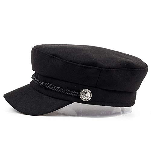 ERQINGBM Barett Marine Mütze Hut Weibliche Winter Hüte Für Frauen Männer Damen Armee Militar Hut Visier Schwarze Kappe Sailor Hat Knochen Männlich