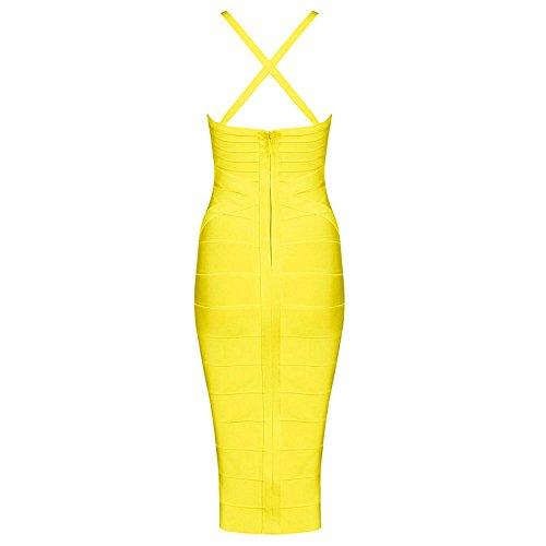 HLBandage Women Sexy Spaghetti Strap V Neck Knee Length Bandage Dress Jaune