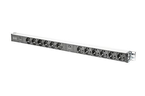 Notebook-sicherheit-schrank (DIGITUS Professional DN-95405 Steckdosenleiste, Aluminium, 12 Abgriffe (Schuko), 2x Überlastschutz, 19