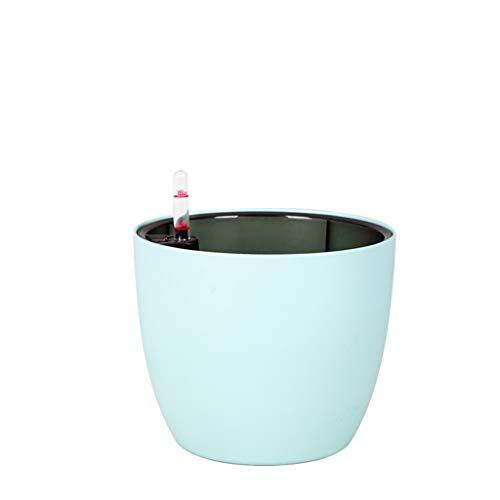 CBing-Indoor decorations Topf, runder Blumentopf Bekleidungsgeschäft Blumenladen Blumentopf Rose Blumentopf Automatische Wasseraufnahme Mehrere Farben (Farbe : Ice Blue, größe : 15 * 15 * 12.7cm) Ice Blue Vase