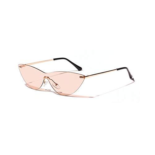 WDDYYBF Sonnenbrillen, Cat Eye Sonnenbrille Frauen Retro Kleine Cateye Randlose Sunglases Einteilige Sonnenbrille Uv400 Brillen Weiblichen Farben Braun