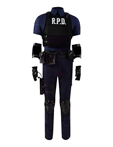 Yewei Spiel Evil 2 Leon Kostüm Herren Cosplay Karneval Weste Hüfttasche Outfit (Schwarz, ()