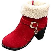JURTEE Damen Winter Warm Stiefel Winter Plattform Flock Falten Sie Warme Schneeschuhe Kurze Stiefelette Römischer