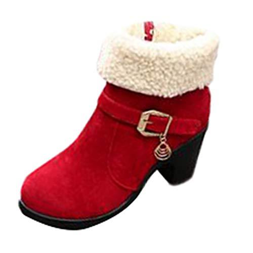 (MYMYG Damen Chelsea Boots Stiefel Schlüpfen Lederstiefel Frauen Kurze Stiefel Winter Plattform Flock Falten Sie warme Schneeschuhe Modische Boots mit Halbhohe Blockabsatz)