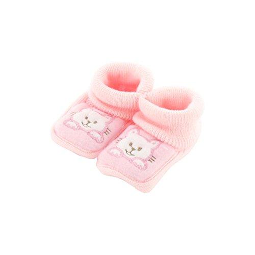 Chaussons pour bébé 0 à 3 Mois rose - Motif Chaton