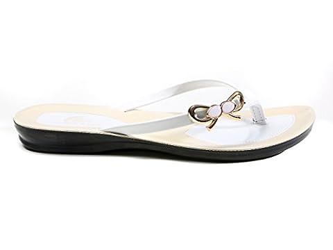 LONGCLASS Flipflops weiß bequeme Sandalen Damen PRINCESSA Strand damen zehentrenner sandalen Frauen Schuhe Sommer Flip Flop Damen elegant Flip Flops elegant Damen badeschuhe damen flip flop weiß