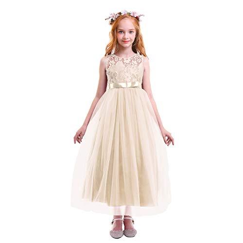 Obeeii Ragazze Fiore Pizzo Abito Lungo Senza Maniche Elegante Princess  Tulle Abito da Nozze Sposa Compleanno 0d13fb871f9