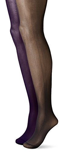 Betsey Johnson Women's Semi-Opaque Fashion Tights In Bold Solid Colors, Purple/Black, Small (Pack of 2) (2 Pack Solid Tights)