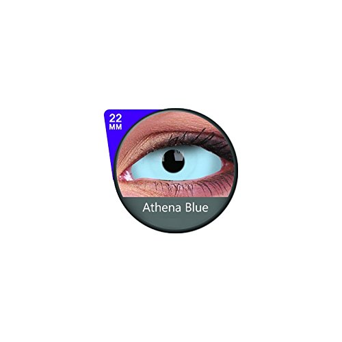 1 Paar Sclera ATHENA Kontaktlinsen linsen farbig blau vampir mit Box dämon halloween kostüme ()