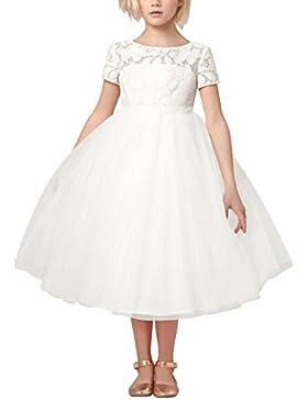 YiZYiF Festliches Mädchen Kleider Brautjungfern Kleider Hochzeit Party Festkleid Weiß Tüll Festzug Gr. 92-164