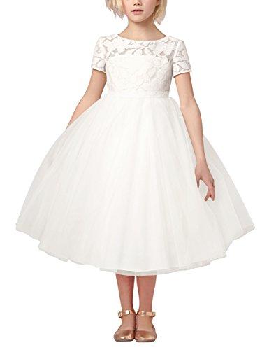 YiZYiF Festliches Mädchen Kleider Prinzessin Hochzeit Party Festkleid Weiß Tüll Festzug Brautjungfernkleider Gr. 92-164
