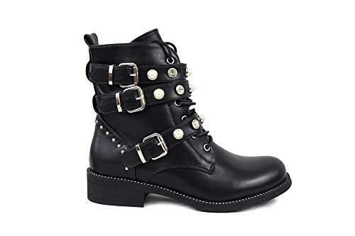 irisaa Damen Stiefeletten Stiefel schwarz mit Strass und Perlen Schnür Biker Boots, Größe Normal:39, Winterschuhe Farbe 2019:Schwarz