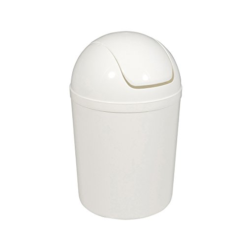 Carpemodo Kosmetikeimer Schwingdeckeleimer 1,5 l Volumen/Weiß / Kunststoff/Ø 13.5 x 20 cm