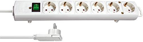 Brennenstuhl Comfort-Line Plus, Steckdosenleiste 6-fach (mit Flachstecker, Schalter, 2m Kabel und extra breite Abstände der Steckdosen) Farbe: weiß