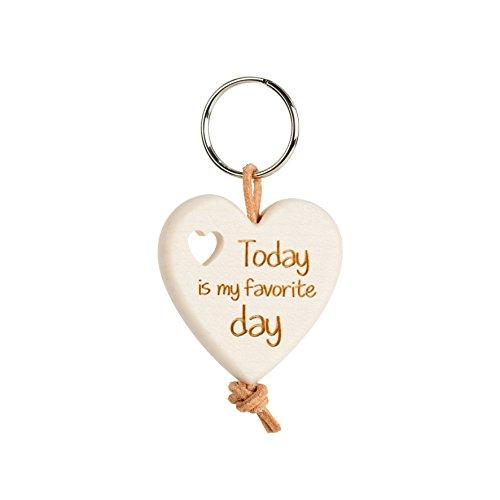 Schlüsselanhänger Herz aus Ahornholz mit Gravur, ideal als Geschenkidee, Gravur wählbar (Today is my favorite day)