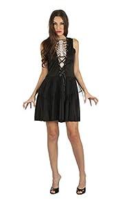 Bristol Novelty AF080 - Vestido de esqueleto para mujer, talla única, color negro y blanco