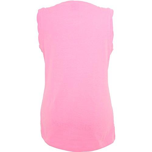 Statement Shirts - Einhorn mit Eis - ärmelloses Damen T-Shirt mit Brusttasche Neon Pink