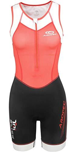 Aropec Tri-Slick Lycra Triathlonanzug für Damen Black Coral - Einteiliger Tri-Slick Lycra Triathlonanzug - Zwei Netztaschen hinten in der Taille