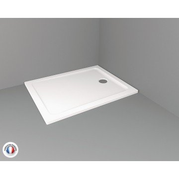 DBS Receveur de douche extra-plat (3,2 cm) | Antidérapant | Fabriqué en France | Biocryl thermoformé (100x80 cm)