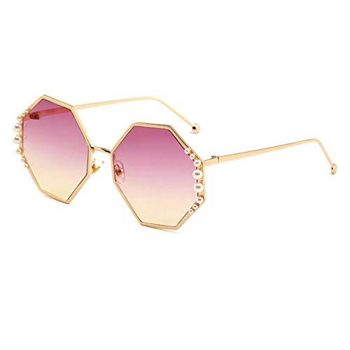 HQMGLASSES Damen-Sunglasses Designer-Pearl-Verschönerung Gold-Ton Frame Gradient Lens Shades Sonnenbrille für Driving/Holiday, UV 400 Schutz,07