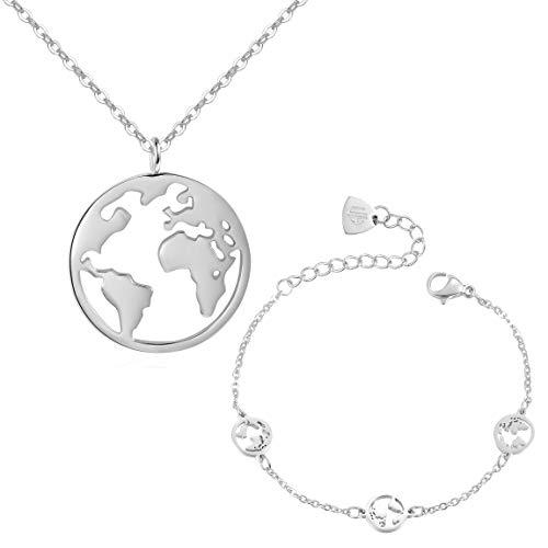 ap Schmuckset Damen - Halskette & Armband mit Weltkarten Anhänger - Kette Amulett aus Edelstahl und Armkette mit drei kleinen Weltkarten - Schmuck-Set 1 Silber ()