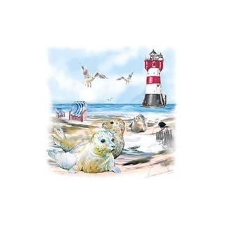 Ambiente Serviette Motiv : Seals on beach - Robben am Strand - 20 Servietten pro Packung, 33x33 cm