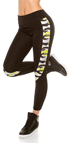 Damen Fitness Leggings Sportbekleidung Sportleggings Fitnesshose Sporthose schwarz dehnbar Yoga Workout elastischer Bund mit Camouflage...