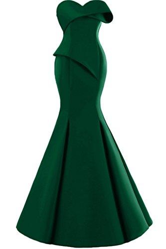 Missdressy Damen Moderne Satin Lang Meerjungfrau Traegerlos Falten Abendkleid Partykleid Abiball Abschlussball Hochzeitsgast Kleid Dunkelgruen