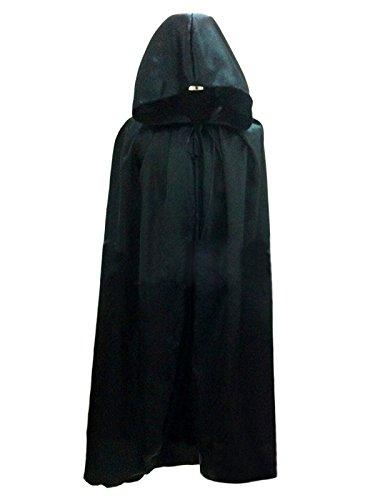 Dreamworldeu Damen Herren Geister-Umhang Halloween Umhang Karneval Fasching Kostüm Cape mit Kapuze Unisex Full (Herren Schwarz Cape)
