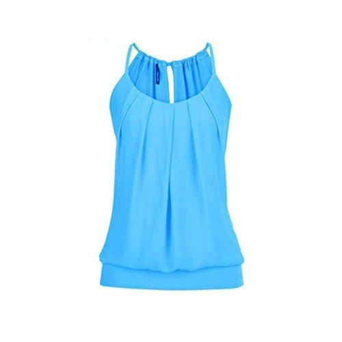 OverDose Damen Casual Sommer Strappy Lose Geknitterte O Neck Cami Tank Tops Weste Bluse Tees Frauen Hemd Freizeit Oberteile T Shirt(Blau,EU-44/CN-3XL)