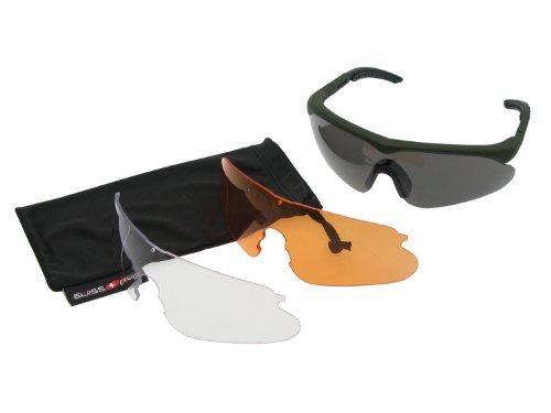 SWISS EYE Raptor Schutzbrille, Fassung -rubber green-, 3 Gläser, mit Antifog/Antiscratch [10163]