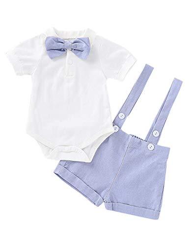 Baby Boy Gentleman Outfits Anzüge Säuglings Kurzarm Strampler Trägerhose Fliege Overalls Kleidung Set