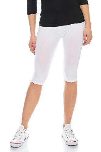 Kendindza Damen Kurze Hose | Legging Knielang | Nahtlos Short (Weiß | 1er Pack, S)