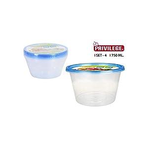 Privilege- Set 4 Semidesechables, Redondo, 750 ml, Multicolor (49798)