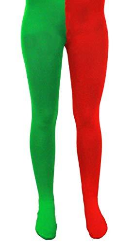 ILOVEFANCYDRESS ELFE Strumpfhose Damen Herren Weihnachten KOSTÜM Erwachsene Unisex Weihnachten Accessoire ROT GRÜN Santa's Helfer Elfen (X-GROẞ = EUR 48-54) (Für Erwachsene Santa's Grüne Helfer Weihnachten Kostüm)