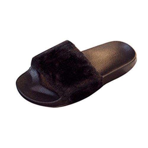 Damen Hausschuhe, FNKDOR Flaumig Kunstpelz Slipper Zehentrenner Pantoletten Schuhe Flip Flop (38, Schwarz)