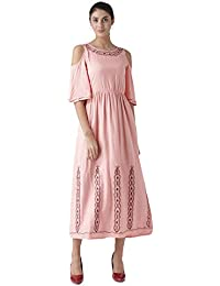 THE VANCA Women's Embroidered Rayon Maxi Dress