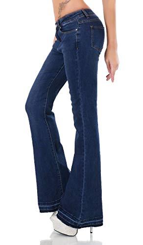 Dark Denim Flare Jeans (Label by Trendstylez Bootcut-Jeans mit Fransen-Abschluss Dark Blue JD258 Größe 40)