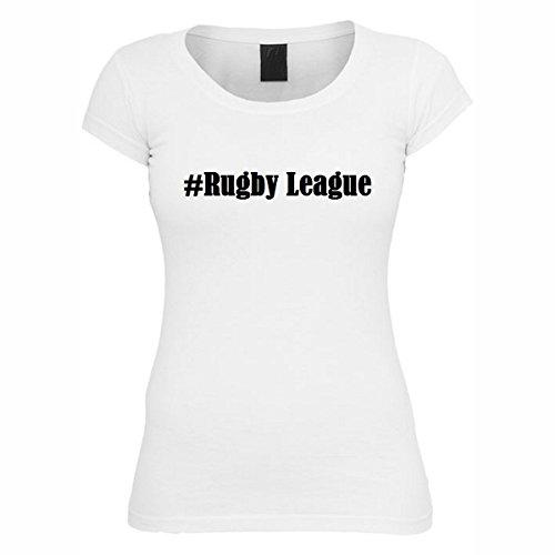 T-Shirt #Rugby League Hashtag Raute für Damen Herren und Kinder ... in den Farben Schwarz und Weiss Weiß